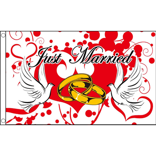 Just married wedding flag