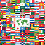 Countries of the world woven flags